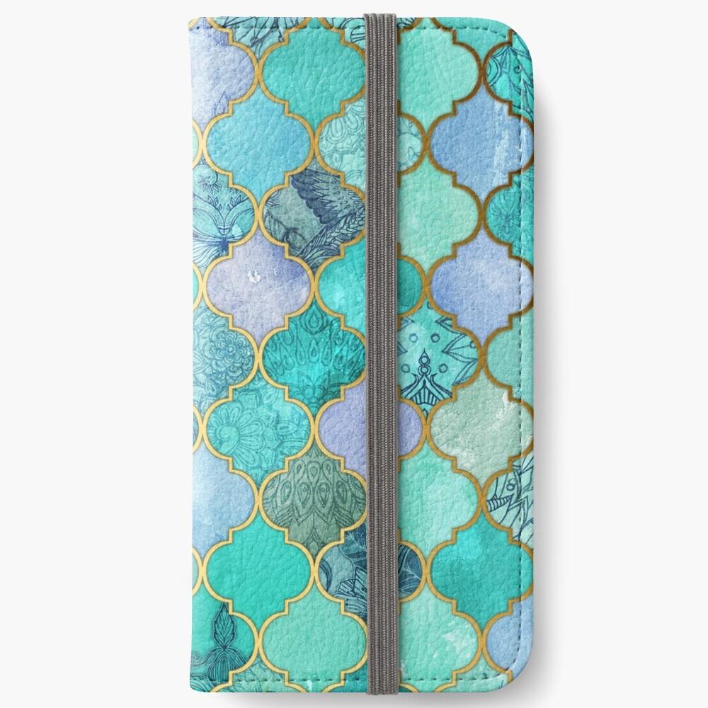 Patrón de mosaico marroquí fresco de Jade & Icy Mint decorativo Fundas tarjetero para iPhone