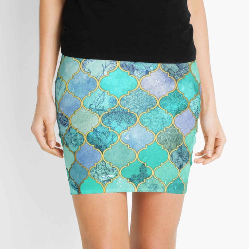 Patrón de mosaico marroquí fresco de Jade & Icy Mint decorativo Minifalda