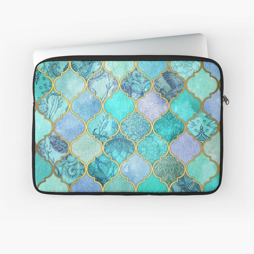 Patrón de mosaico marroquí fresco de Jade & Icy Mint decorativo Funda para portátil