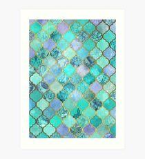 Lámina artística Patrón de mosaico marroquí fresco de Jade & Icy Mint decorativo