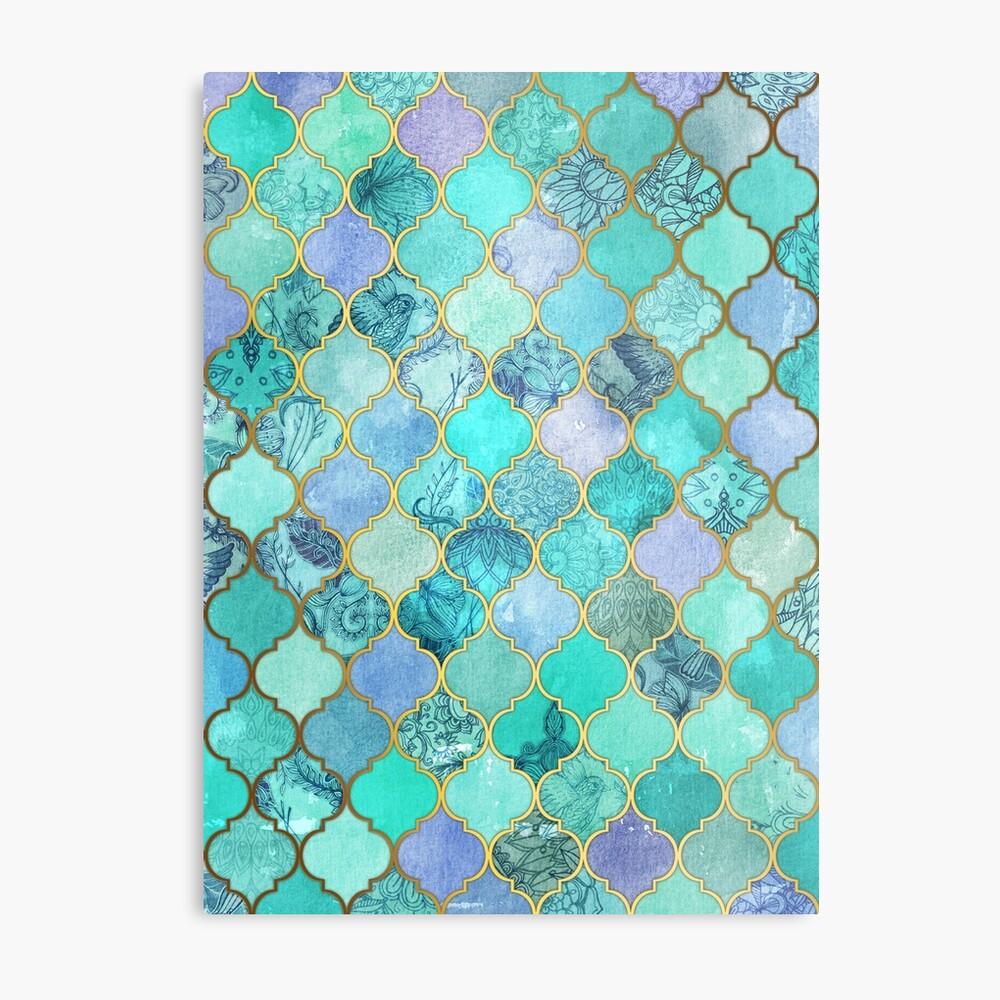 Patrón de mosaico marroquí fresco de Jade & Icy Mint decorativo Lámina metálica