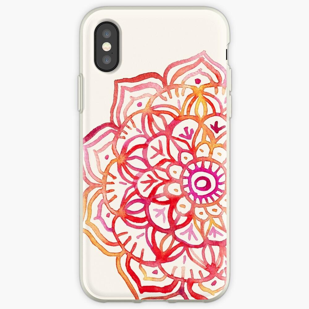 Aquarell Medaillon in den Farben des Sonnenuntergangs iPhone-Hülle & Cover
