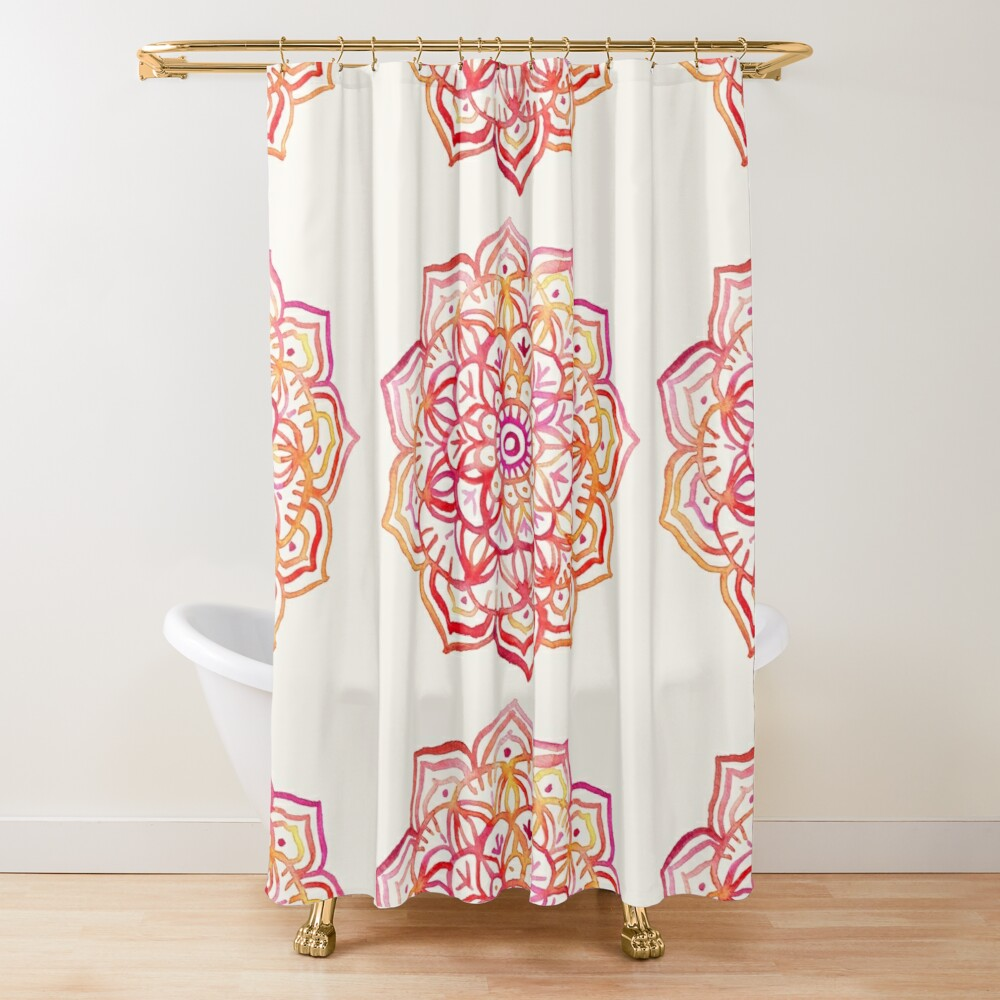 Watercolor Medallion in Sunset Colors Shower Curtain