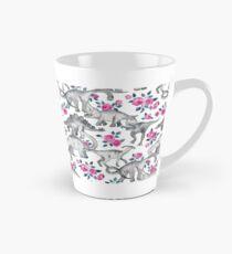 Dinosaurier und Rosen - weiß Tasse (konisch)