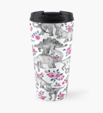 Dinosaurs and Roses – white Travel Mug