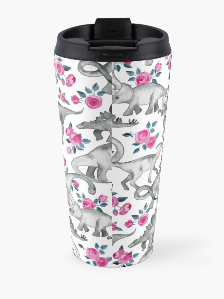 Alternate view of Dinosaurs and Roses – white Travel Mug