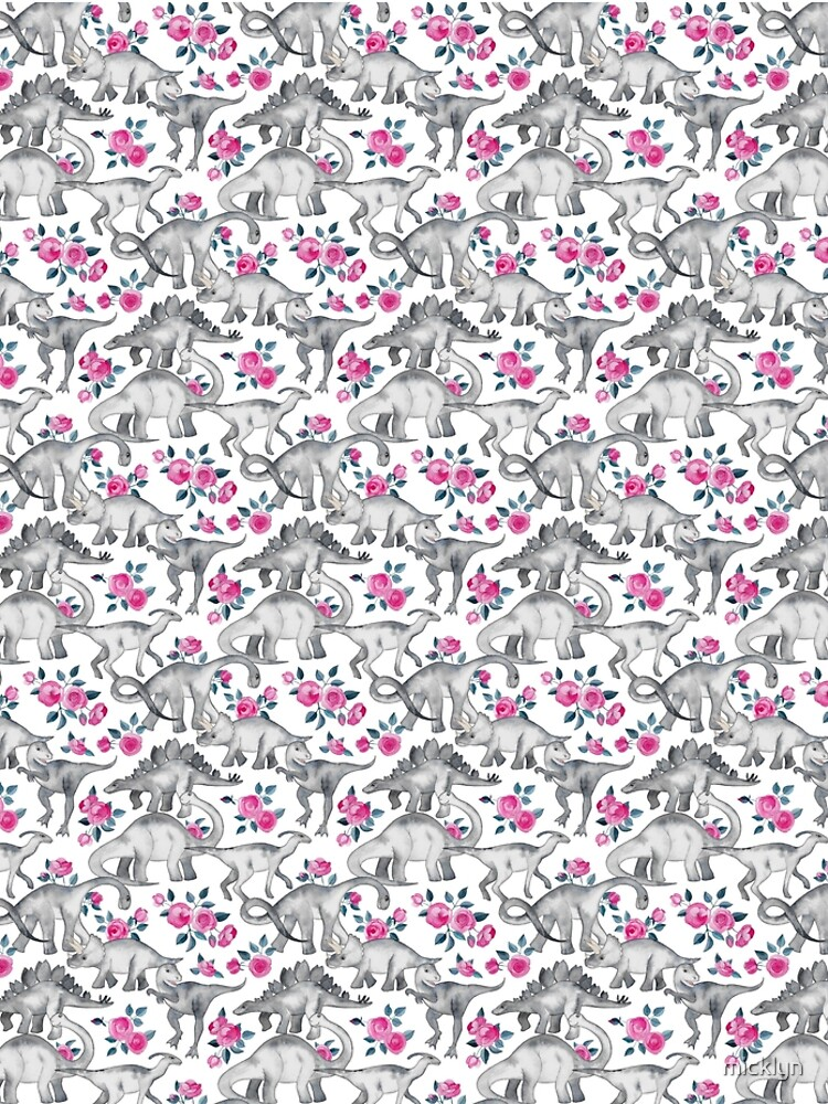 Dinosaurs and Roses – white by micklyn