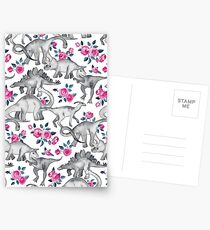 Dinosaurs and Roses – white Postcards