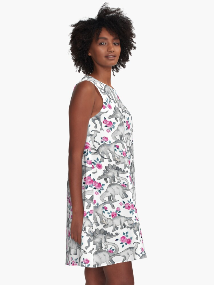 Alternate view of Dinosaurs and Roses – white A-Line Dress