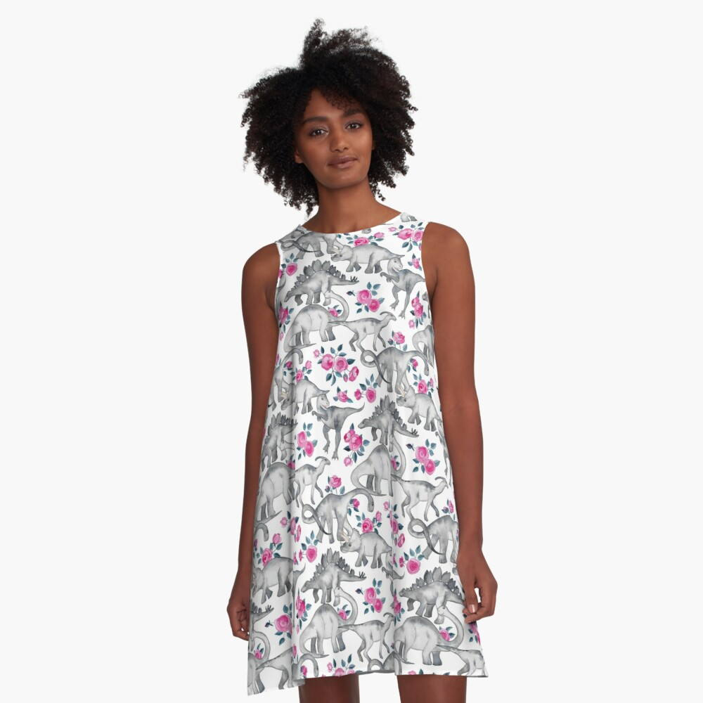 Dinosaurs and Roses – white A-Line Dress