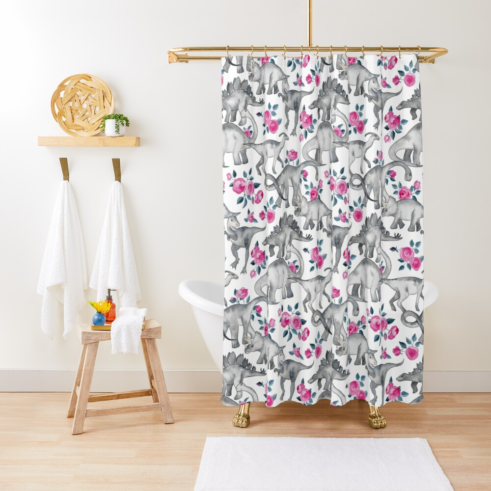 Dinosaurs and Roses – white Shower Curtain