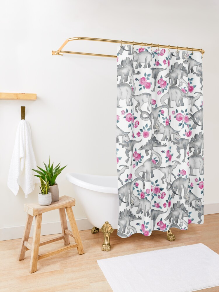 Alternate view of Dinosaurs and Roses – white Shower Curtain