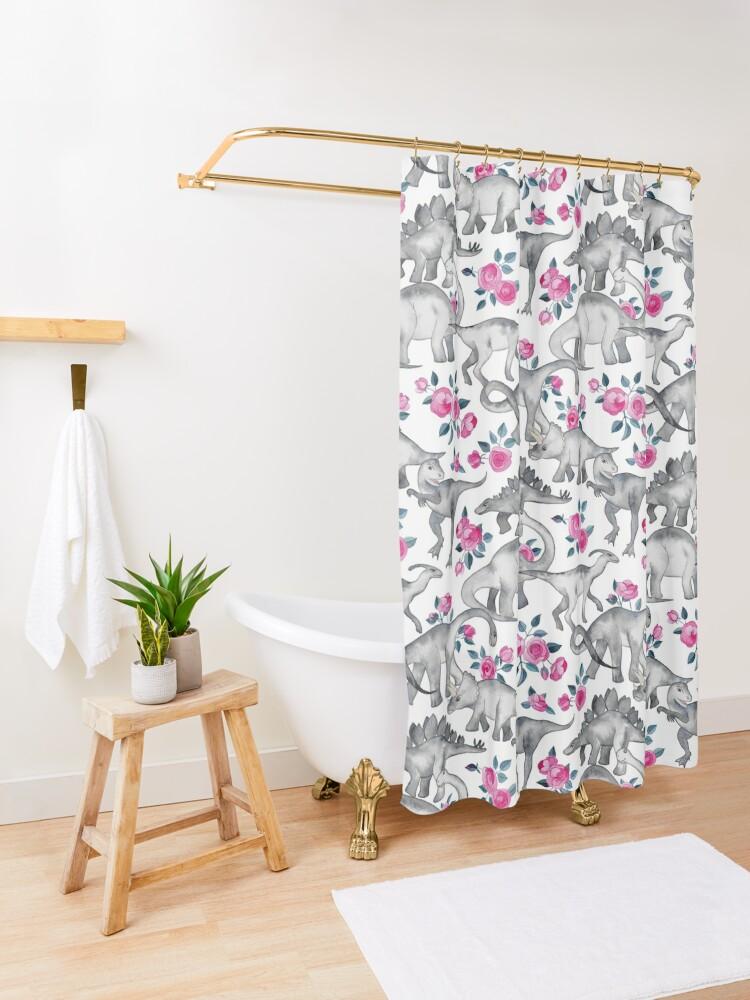 Vista alternativa de Cortina de ducha Dinosaurios y rosas - blanco