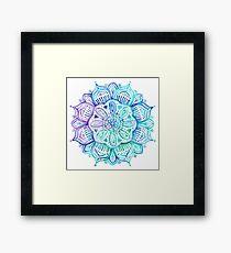 Iridescent Aqua and Purple Watercolor Mandala  Framed Print