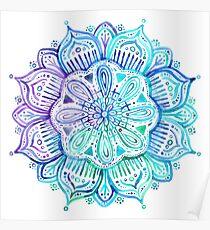 Schillerndes Aqua und lila Aquarell Mandala Poster