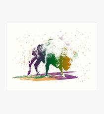 Bison in a colour storm Art Print