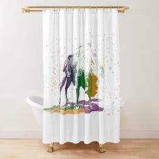 Bison in a colour storm Shower Curtain