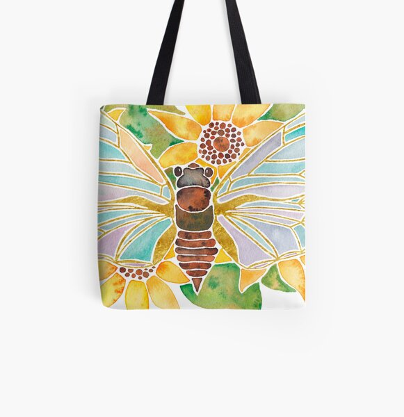 Cicada on Sunflowers All Over Print Tote Bag