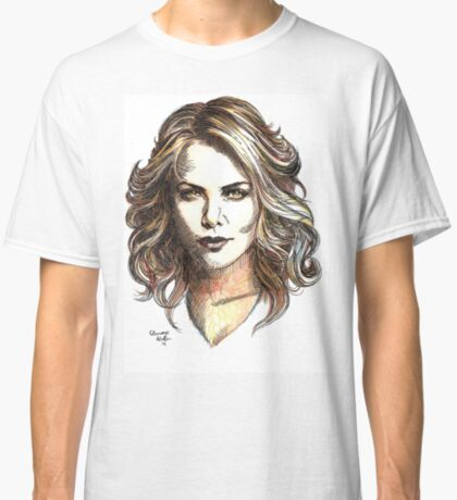 Drawing of  Charlize the movie star Classic T-Shirt