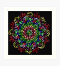 berries and roses mandala Art Print