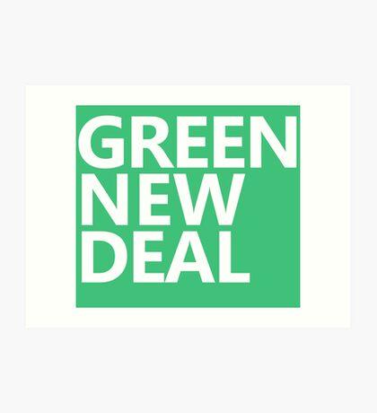 Green New Deal - White Text Art Print