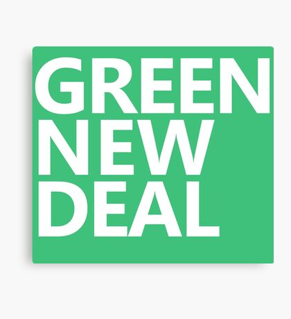 Green New Deal - White Text Canvas Print