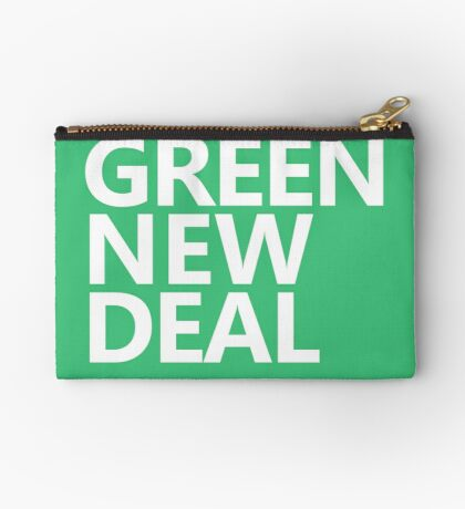 Green New Deal - White Text Zipper Pouch
