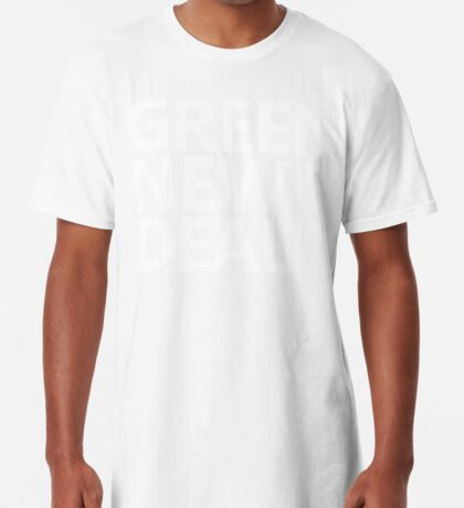Green New Deal - White Text Long T-Shirt