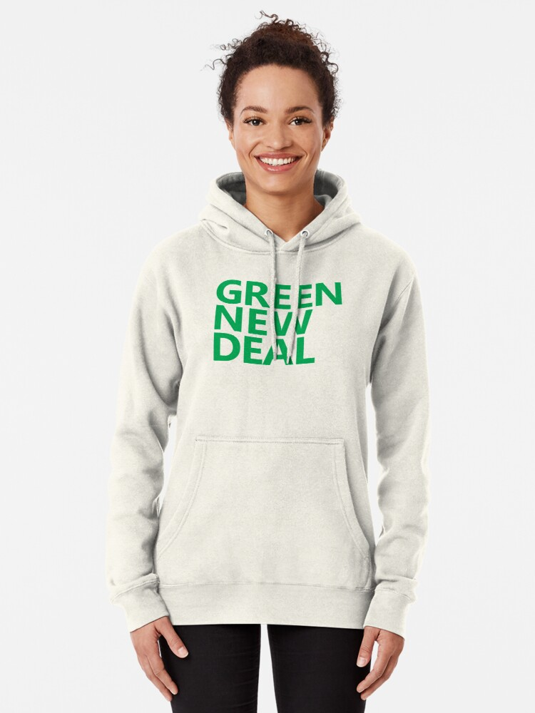 Alternate view of Green New Deal - Green Text Pullover Hoodie