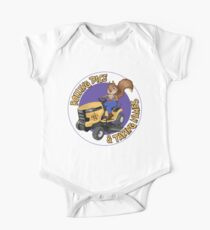 RDTN Squirrel on a Lawn Mower Short Sleeve Baby One-Piece