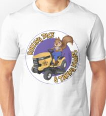 RDTN Squirrel on a Lawn Mower Slim Fit T-Shirt