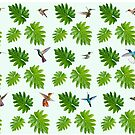 Tropical hummingbirds and philodendron leaves by Land of the Hummingbird