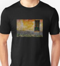 Old window with a plant in Colonia del Sacramento, Uruguay T-Shirt