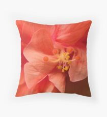 Orange Hibiscus Macro Throw Pillow