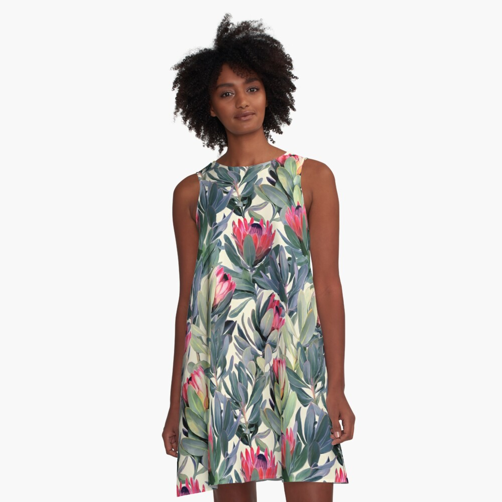 Painted Protea Pattern A-Line Dress
