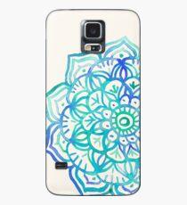 Aquarell Medaillon in Ocean Farben Hülle & Klebefolie für Samsung Galaxy