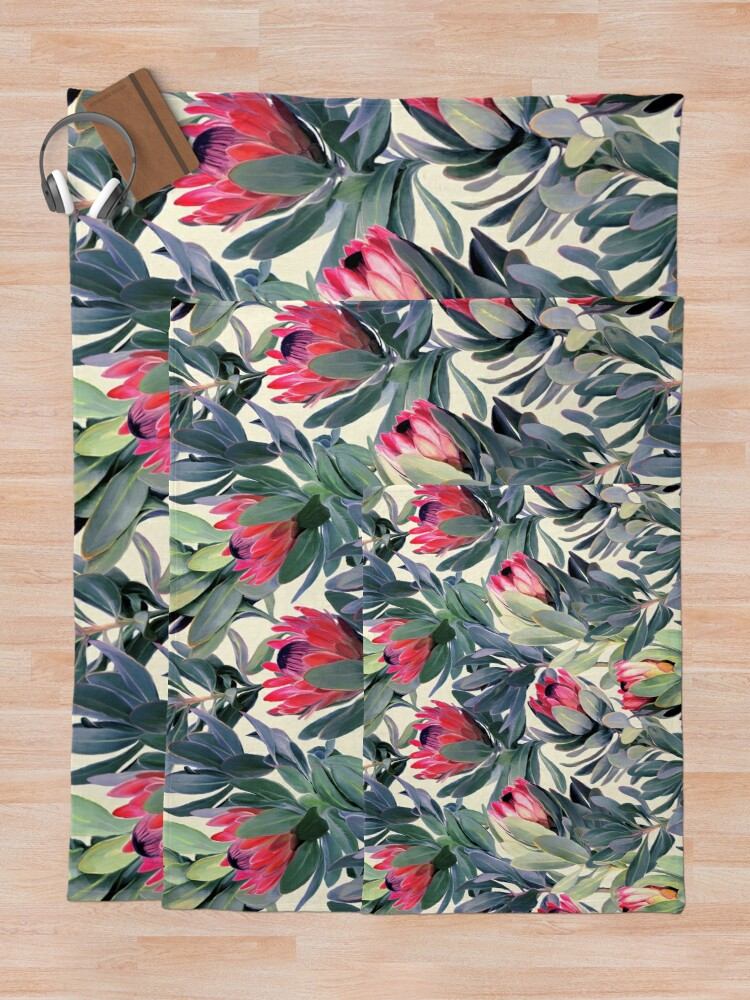 Alternate view of Painted Protea Pattern Throw Blanket