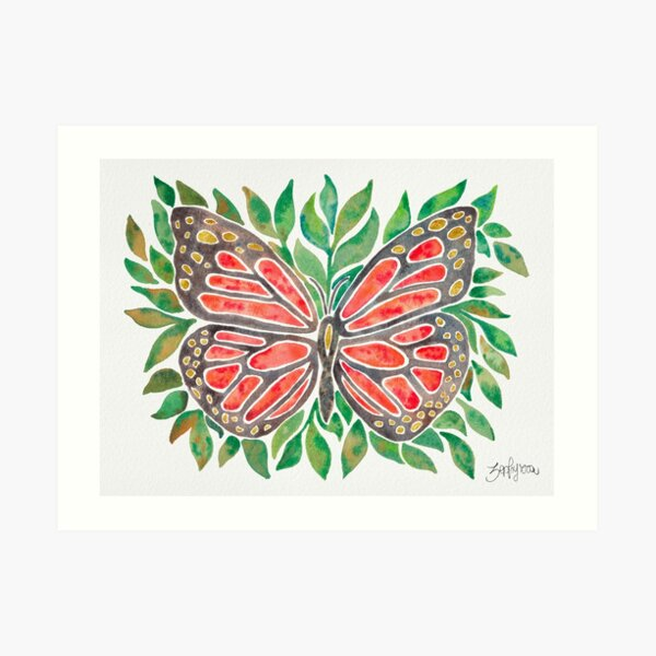 Monarch Butterly on Leaves Art Print