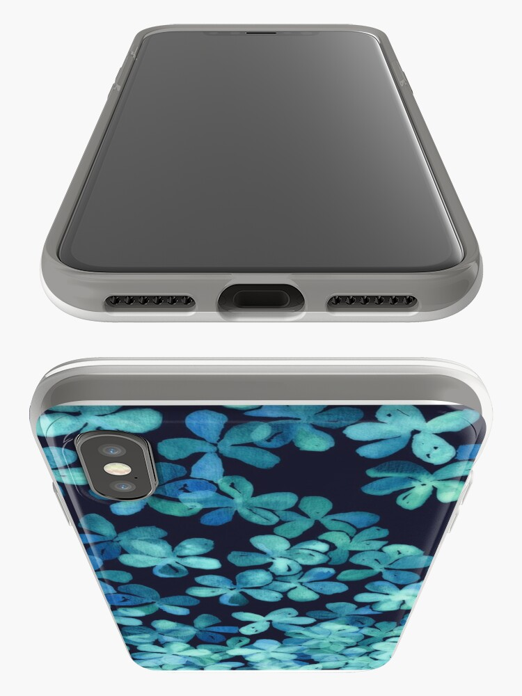 Alternate view of Hand Painted Floral Pattern in Teal & Navy Blue iPhone Case & Cover
