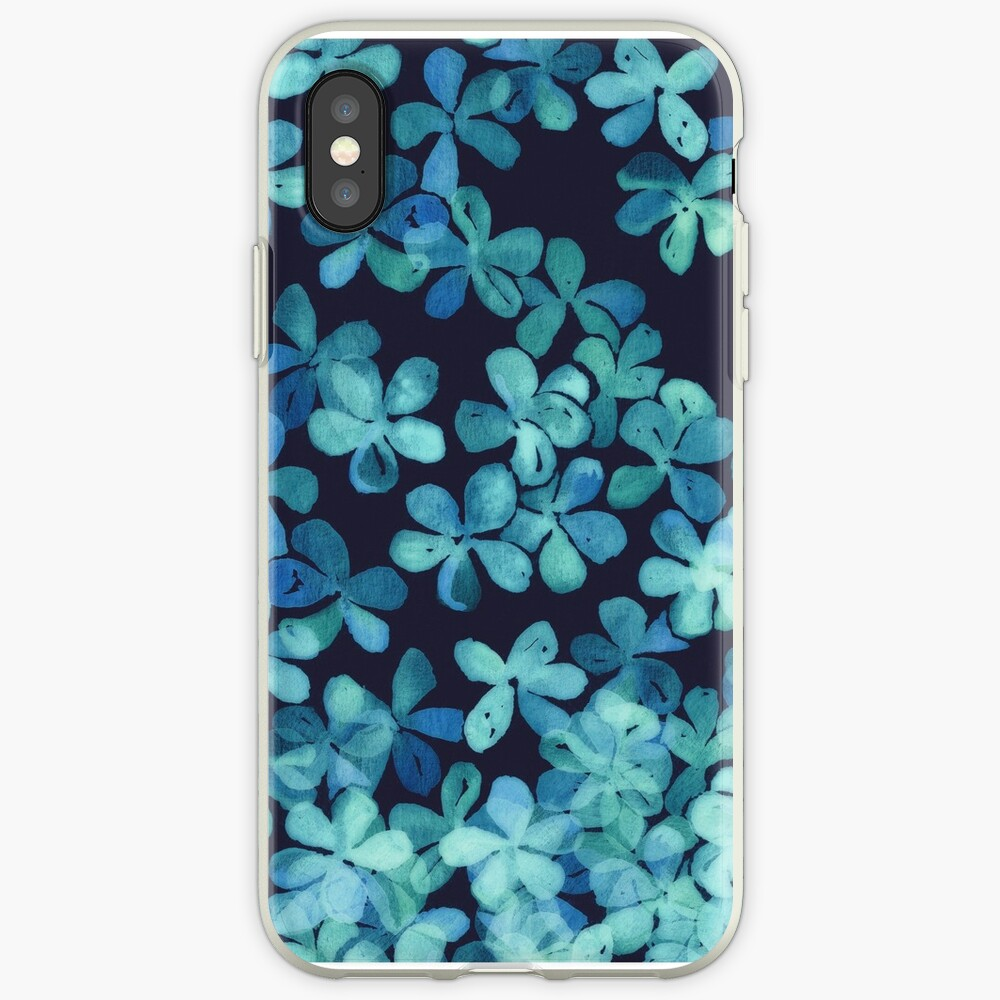 Hand Painted Floral Pattern in Teal & Navy Blue iPhone Case & Cover