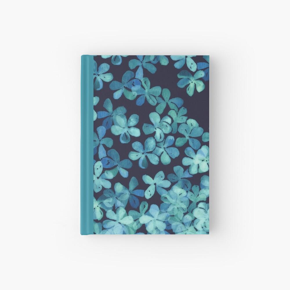 Patrón floral pintado a mano en azul marino y verde azulado Cuaderno de tapa dura