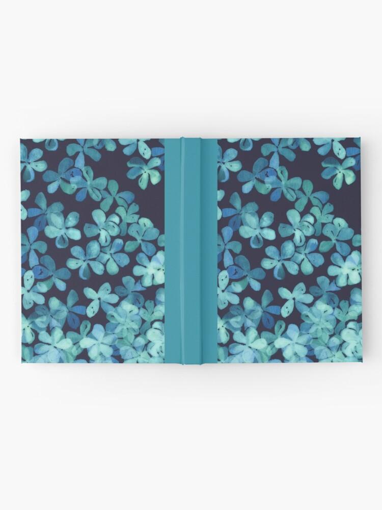 Vista alternativa de Cuaderno de tapa dura Patrón floral pintado a mano en azul marino y verde azulado