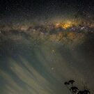 Moonset, clouds and the Milky Way by Odille Esmonde-Morgan