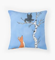 The fox and the crow Throw Pillow