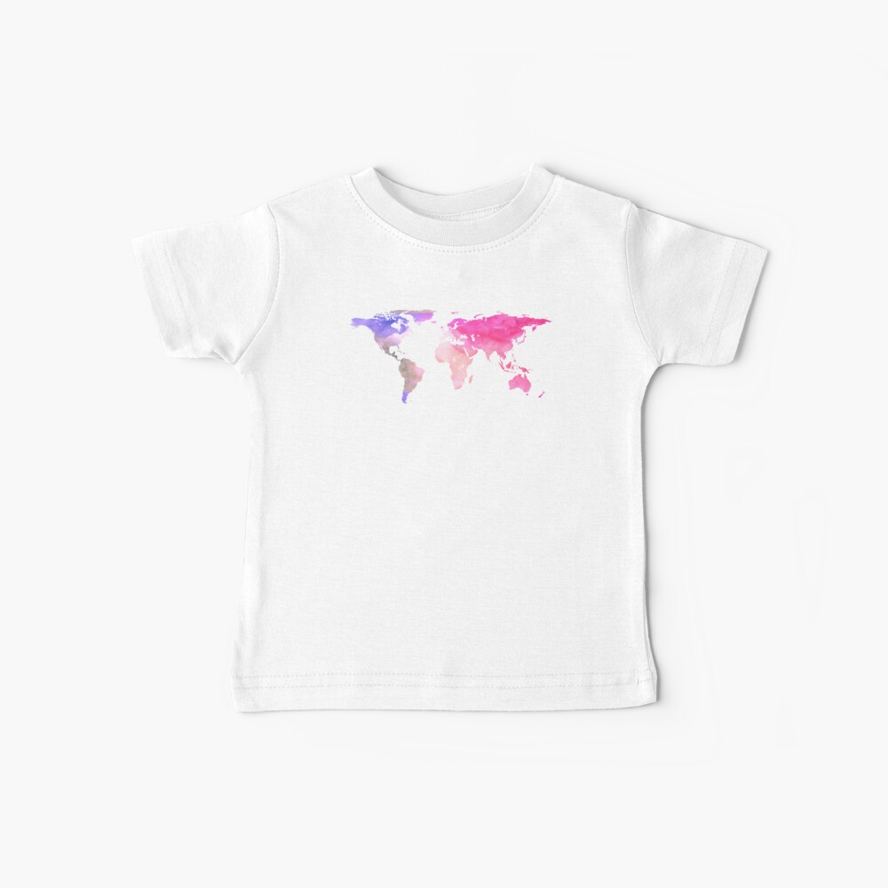World Map | Pink Watercolour | Globetrotter Baby T-Shirt