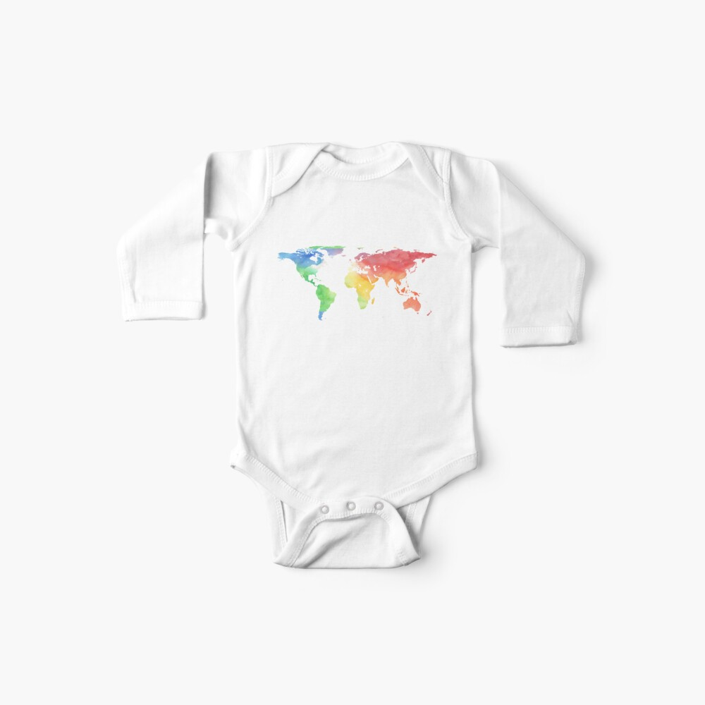 World Map | Rainbow Watercolour | Globetrotter Baby One-Piece