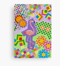 FLAMINGO IN COLORS AND SHAPES WITH SQUARS Canvas Print