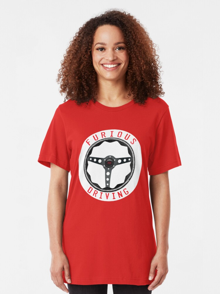 Alternate view of Furious Driving logo - White racing number circle background Slim Fit T-Shirt