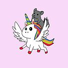 Chinchilla Riding A Flying Unicorn by leeseylee