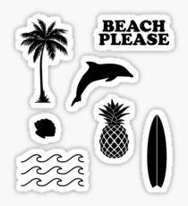 Beach Surf Summer 7er Set Glänzender Sticker